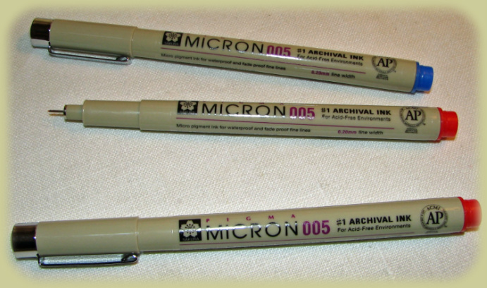 Micron 005 Ultra Fine Tip Pens in Red and Blue